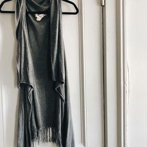 Justice Prysm by Listcle Grey Fringe Vest